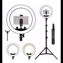 Iluminador LED Ring Light 26cm para Maquiagem Fotos com tripé e suporte celular - On Line
