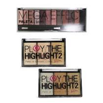 Iluminador Play The Highlight 2 Cor A e B e Paleta Mega Effect Luisance -