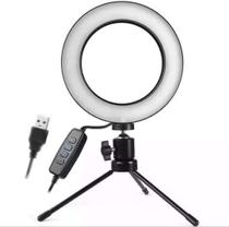 Iluminador Ring Light 16Cm Usb Led Misto 3500K 5500K + Tripe . - Bcs