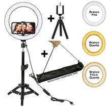 Iluminador Ring Light 26 cm USB com tripé CBRN10943 - Commerce Brasil