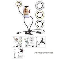 Iluminador ring light c/ suporte smartphone luminária 3 tons de branco  all face -