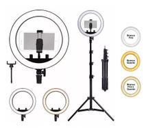 Iluminador Ring Light Completo 26cm + Tripé 2,10 Metros Youtuber Selfie Câmera - Ring Light Galaxy