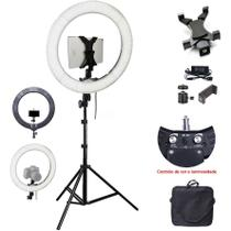Iluminador Ring Light Led com Tripé - 48cm 80W - DSLR Tablet Celular - Leadwin