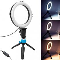 Iluminador Ring Ligth Anel Luz 16cm Make Fotos Com Tripé 13,5 cm Kit Completo Selfie Youtuber Blogueiro Maquiagem - Dura Well