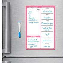 Ímã de geladeira porta recados planner 20 x 30cm modelo rosa - Micro Oficina