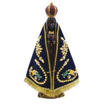 Imagem 33 cm Nossa Senhora Aparecida  Gesso com Manto Tradicional - Artesanato Aparecida