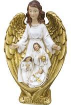 Imagem Anjo com Sagrada Família 23 CM - Resina Importado - Mizratex