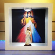 Imagem de  jesus misericoridoso em oratorio de madeira com luz led - Armazem