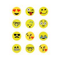 Imãs Enfeite de Geladeira e Painel - Botão Emojis 12 Unidades - Tudoprafoto