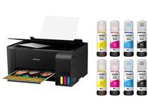Impressora Multifuncional Epson EcoTank L3110 - Tanque de Tinta Colorida USB + 8 Garrafas de Tinta