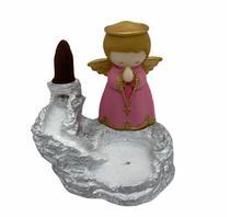 Incensário cascata branca Anjo 12 cm resina rosa - Lua Mística - 100% Original - Loja Oficial