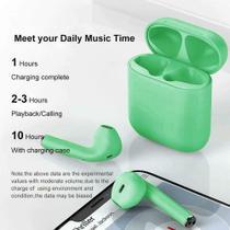 Inpods 12 TWS Macaron Fone de ouvido Bluetooth 5.0 sem fio microfone para todos os telefone - Verde - Smart Bracelet