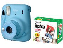 Instax Mini 11 Fujifilm Azul Flash  - Automático + Filme Instantâneo Fujifilm 60 Poses