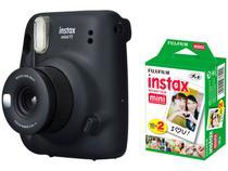 Instax Mini 11 Fujifilm Grafite Flash - Automático + Filme Instantâneo Fujifilm 20 Poses