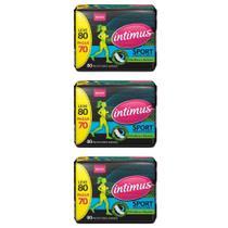 Intimus Gel Sport Absorvente Diário Ultrafino C/80 (Kit C/03) -