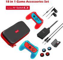Ipega 18 Em 1 Conjunto De Acessórios Para Nintendo Switch Gamepad TF cartão Estojo polegar A3E6 -