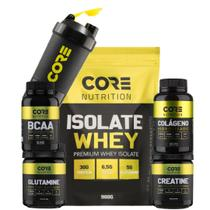 Isolate Whey + BCAA + Crea + Gluta + Colágeno + Shaker - Core Nutrition
