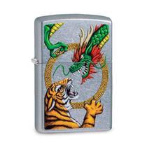 Isqueiro Zippo 29837 Classic Cromado Dragon VS Tiger Street -