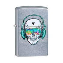 Isqueiro Zippo 29855 Classic Cromado Skull Headphone Street Chrome -