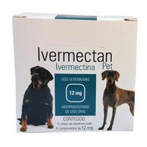 Ivermectan Pet 12mg 20 comprimidos UCBVet Sarna Cães -
