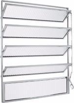 Janela de aluminio Basculante 100x100 Branco Vidro Canelado - Lux