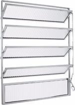Janela de Aluminio Basculante 100x40 Brilhante Vidr Canelado - Lux