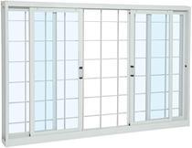 Janela de correr aço 4 folhas grade quadriculada 120x150x12cm abertura central vidro liso - branco sasazaki -