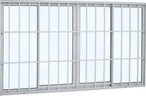 Janela de correr alumínio 4 folhas grade classic 100x150x9.4cm abertura central vidro liso - branco sasazaki -