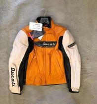 Jaqueta De Couro Ducati Dainese  Laranja Tamanho 50 -