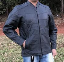 Jaqueta de Couro Esportiva gola alta Motoqueiro Motociclista KESCK -