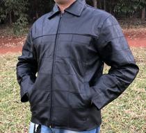 Jaqueta de Couro Esportiva gola social Motoqueiro Motociclista KESCK -