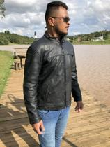 Jaqueta de Couro Esportiva Motoqueiro Motociclista Masculina KESCK -