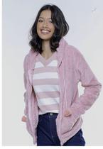 Jaqueta de Pelinhos Rosa Claro Sob com Bolso Canguru e Capuz -