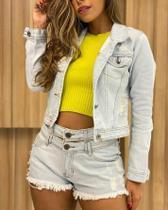 Jaqueta jeans feminina Degrant detonada com cós linda -