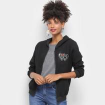 Jaqueta Moletom Lily Fashion Textura Coração Capuz Feminino -