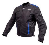 Jaqueta Motociclista Masculina Helt Airmash Verão Preto/Azul Impermeável C/ Proteções -