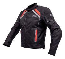 Jaqueta Motociclista Masculina Helt New Stroke Preto/Vermelho Impermeável C/ Proteções -