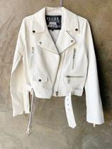 Jaqueta perfecto leather denim pleat feminina branco - Ellus