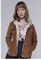Jaqueta Vintage em Cotelê com Gola de Pelinhos Sob com Bolsos Caramelo -
