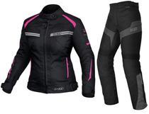 Jaqueta X11 One 2 Feminina Rosa + Calça X11 Ultra 2 Feminina Com Proteção -