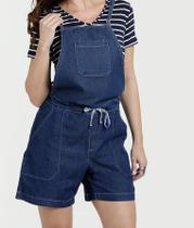3a779993a3e72 Jardineira feminina em jeans escuro alças finas Razon Ref.10ma06