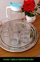 jarra 1l e 4 copos 230 ml vidro + jogo de salada 7p vidro + pote 1 lt vidro - Futuro