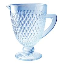 Jarra amelie em vidro com pé 1l cor azul luster 25681 - Full Fit