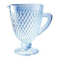 Jarra Amelie  em vidro com pe 1L cor azul luster - L Hermitage