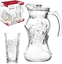 Jarra de vidro ravena flor 1,5l com tampa de acrilico + 6 copos 250ml na caixa - Wellmix
