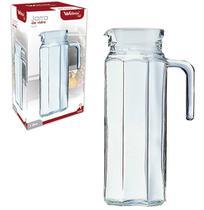 Jarra de vidro relevo lyss com tampa de plastico branco 1l - Wellmix