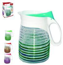 Jarra de vidro relevo transcolor creta com tampa de plastico 1,35l na caixa - Wellmix