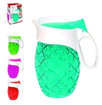 Jarra de vidro relevo transcolor guell com tampa de plastico 1,2l na caixa - Wellmix