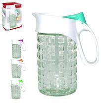 Jarra de vidro relevo viena com tampa de plastico colors 1l na caixa - Wellmix