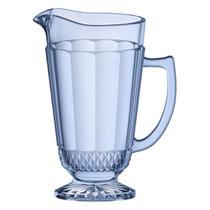 Jarra Splendor em vidro com pe 1,2L cor azul luster - L'Hermitage
